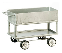 Dollhouse Miniature - Silver Metal Utility Cart - 1:12 Scale - $19.99
