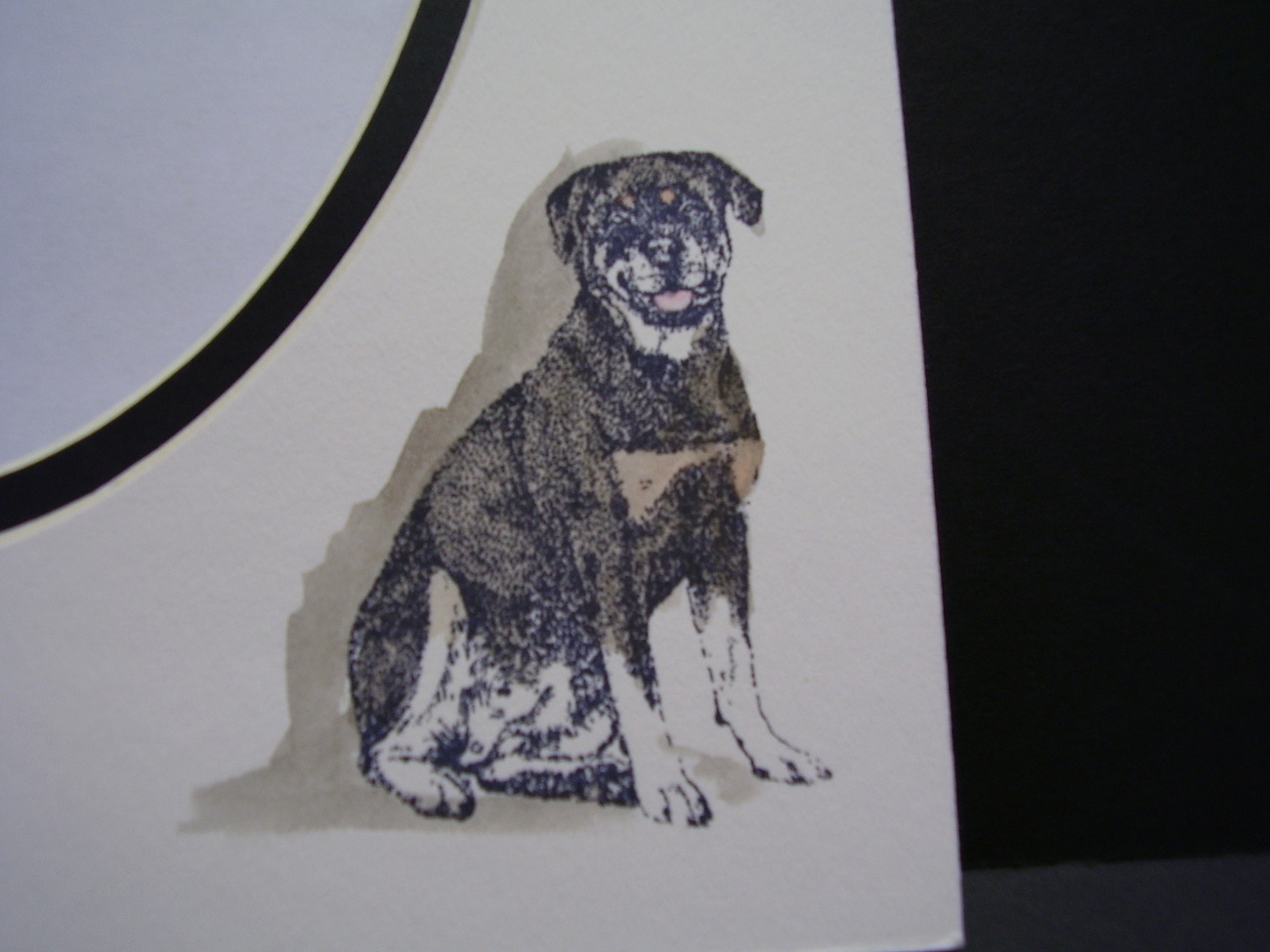 Primary image for Picture Framing Dog Mats 8x10 for 5x7 Rottweiler hand-colored Canine watercolor