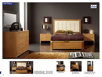 ESF 515 Bedroom Set Queen 5 Piece Bed Cherry Modern Contemporary Made in Spain