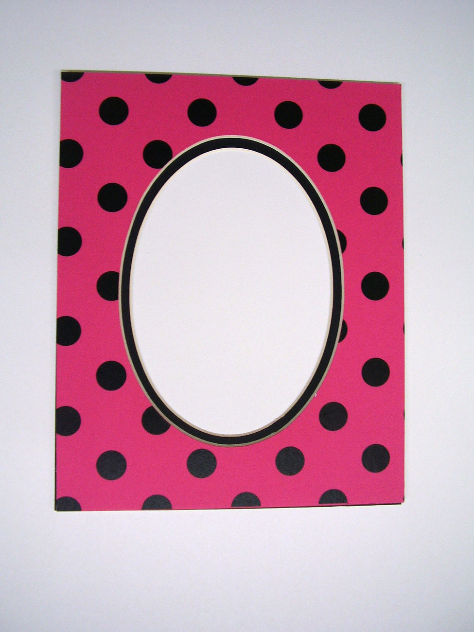 Primary image for Picture Framing Mat 8x10 for 5x7 photo Polka Dot Hot Pink and Black Fashion Mat