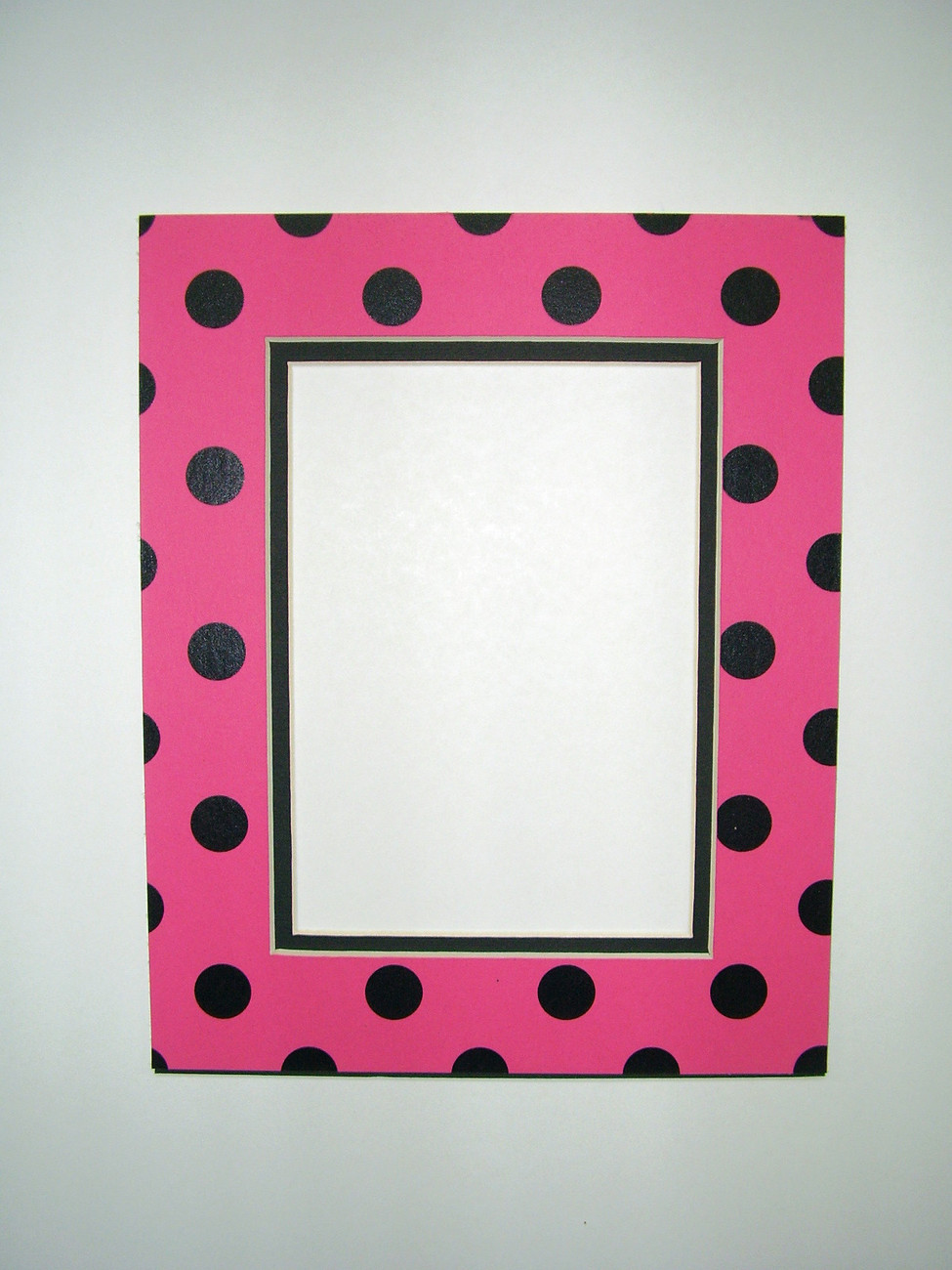 Primary image for Picture Framing Mat 8x10 for 5x7 photo Polka Dot Hot Pink and Black rectangle