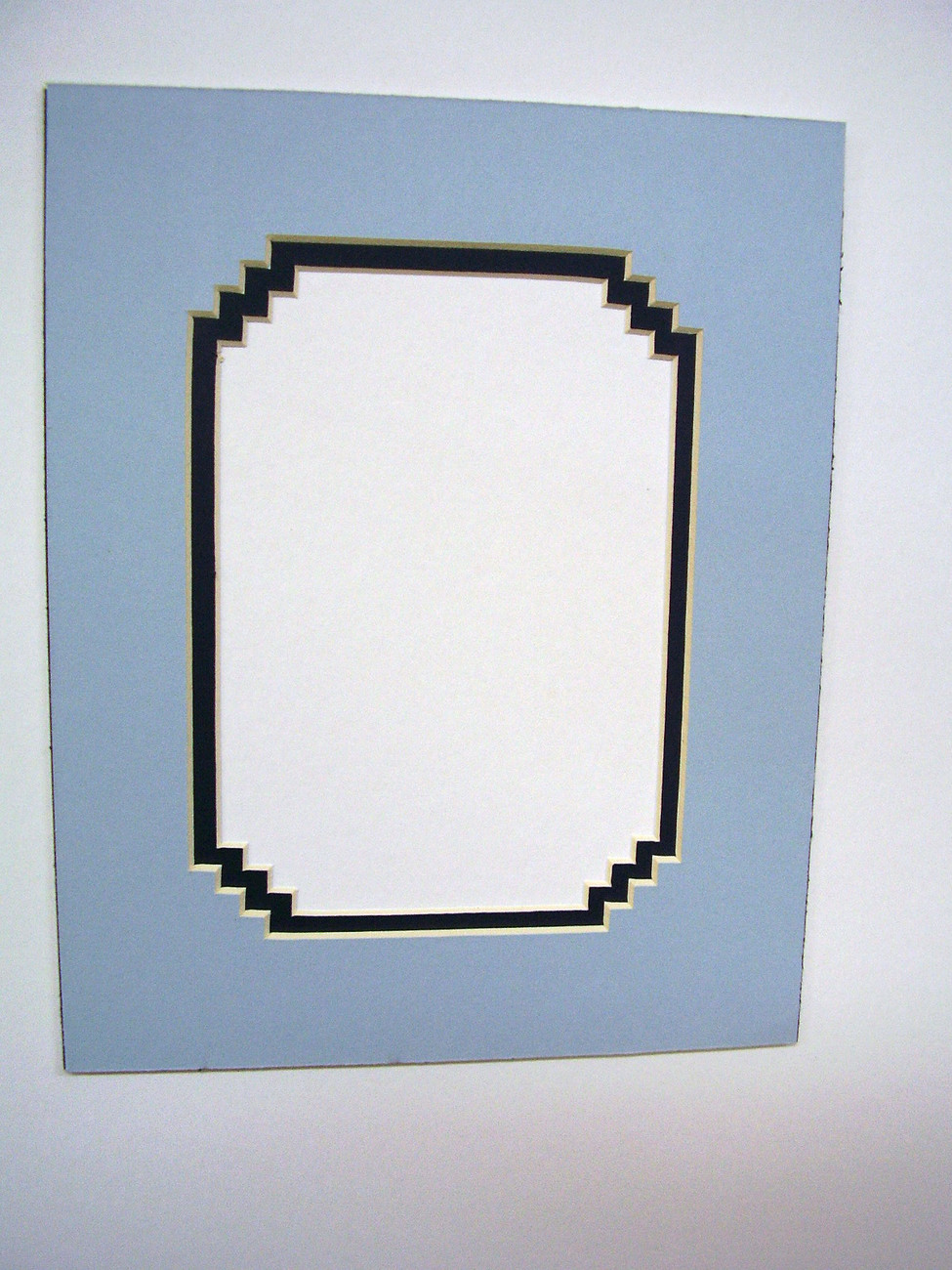 Primary image for Picture Mat French Stairstep Design Baby Blue with Dark blue 11x14 for 8x10