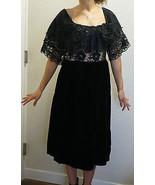 Vintage Lee Jordan New York Formal Ruffled Illusion Lace Velvet Dress BOHO - $65.00