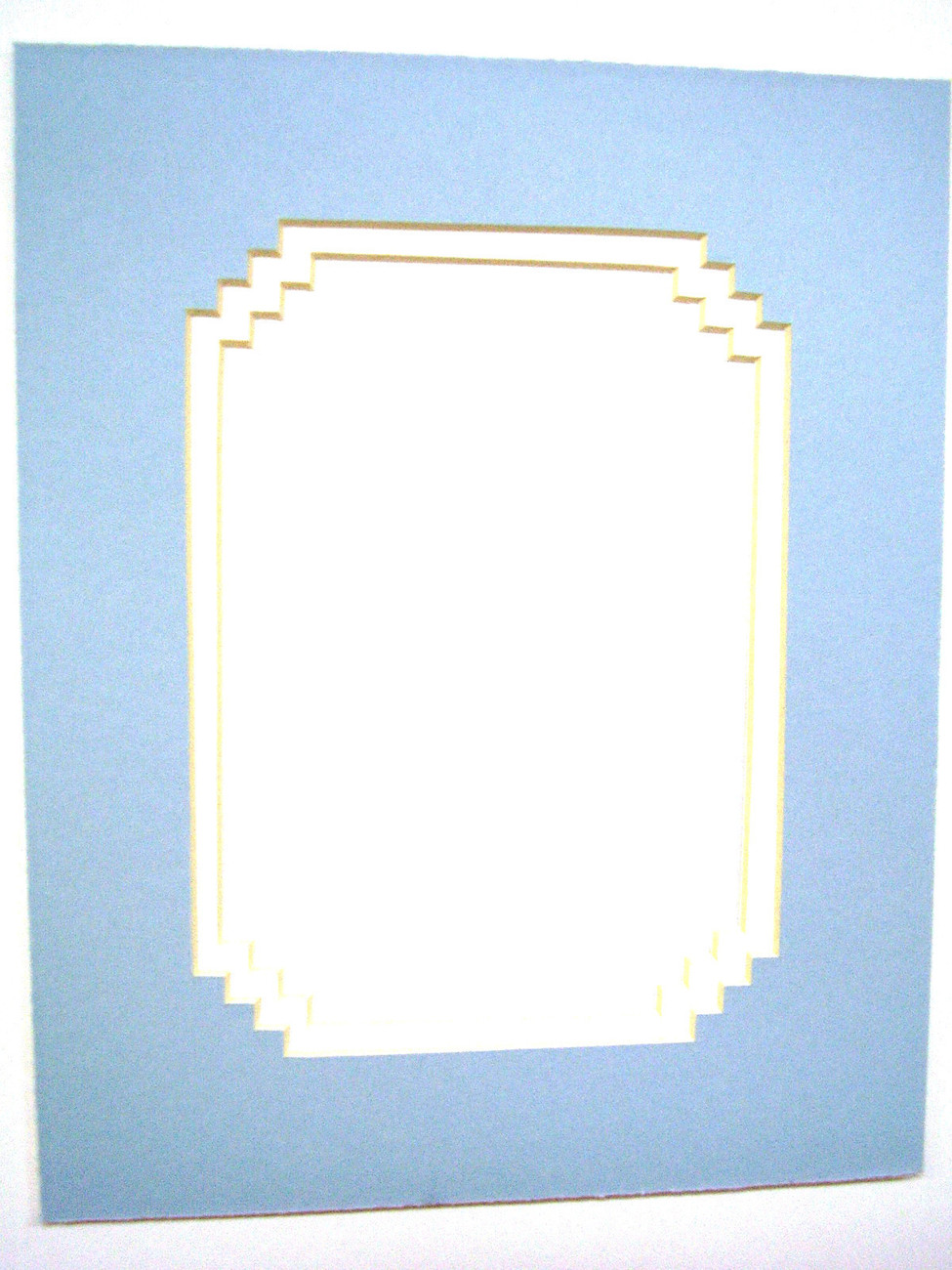 Primary image for Picture Mat French Stairstep Design Baby Blue with white liner 8x10 for 5x7