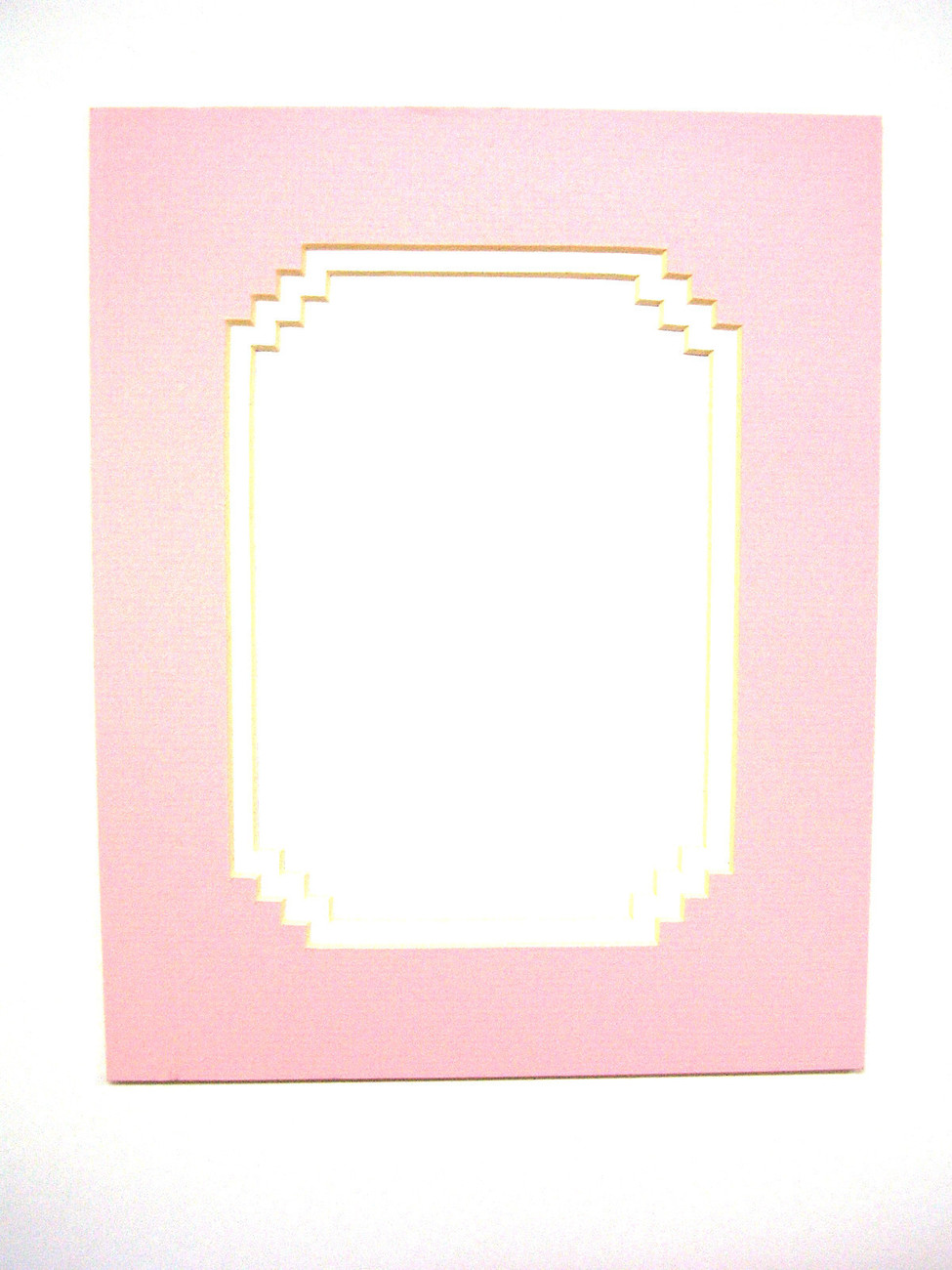 Primary image for Picture Mat French Stairstep Design Baby Pink with white liner 8x10 for 5x7