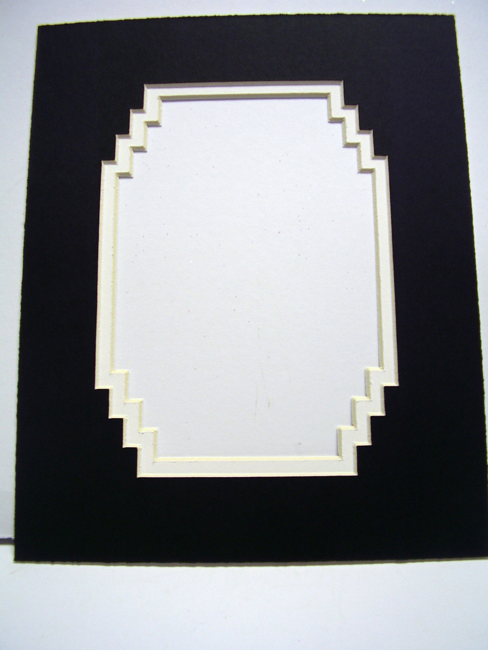 Primary image for Picture Mat French Stairstep Design Black Double Mat 11x14 for 8x10 photo