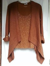 Cardigan Cascading Sweater/Tank Top Set Rust Sequined - $19.78