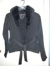 Fleece Jacket With Faux Fur Black - $12.86