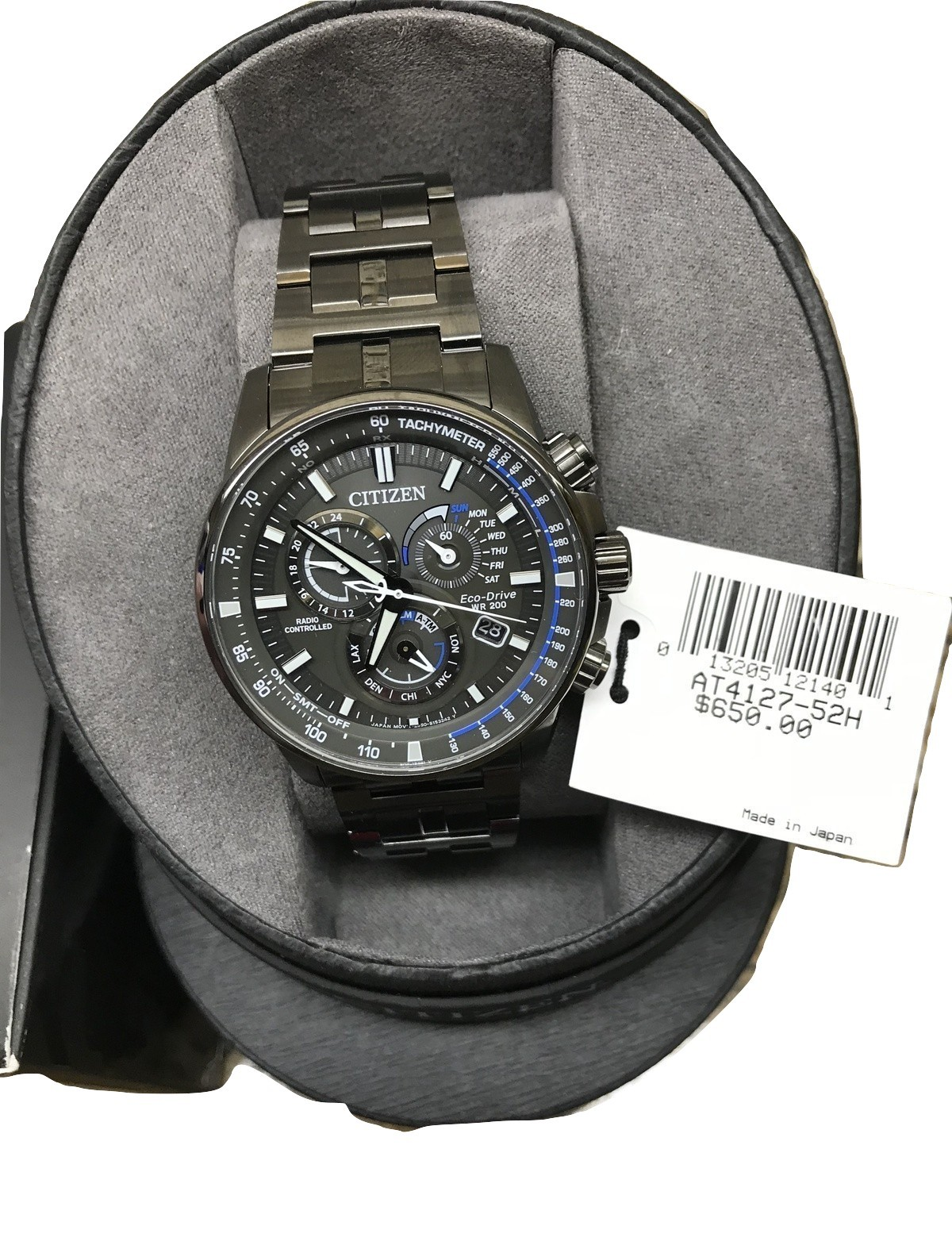 NEW Eco-Drive Men's Chronograph Perpetual Gray Stainless Steel Bracelet Watch 43