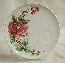 Vintage Americana by Lefton 957 Snack Plate Large Pink Rose Green & Brown Leaves - $29.69