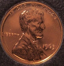 1963 Proof Lincoln Memorial Penny #0175 - $1.59