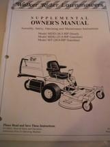 Walker Rider lawnmowers supplemental owner's manual MDD (16.5 HP) MDG (21 HP) MT - $9.87