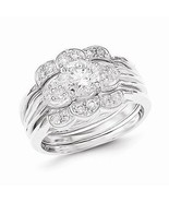 BEAUTIFUL STERLING SILVER POLISHED CZ  3 - PIECE RING SET - SIZE 7 - $54.97