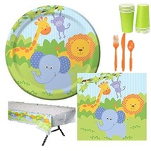 81 pcs JungleForest Friends 8 Guest Starter Party Pack - Cups | Plates |... - $11.14