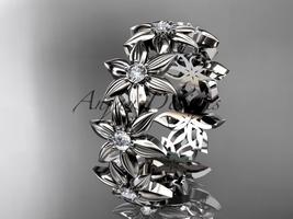 Platinum diamond band and vine engagement band, wedding band ADLR339B - $1,675.00