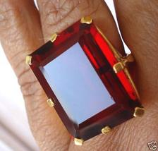 Amazing Raspberry Red Emerald Cut Large Garnet Ring avlb - $79.00