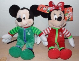 Disney Mickey and Minnie Mouse Plush Pajama Pair Set of 2 Snowflakes NEW - $24.99