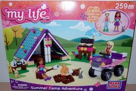 Mega Bloks My Life Summer Camp Adventure 259 Pieces 2 Dolls 2 Pets NEW - $21.99