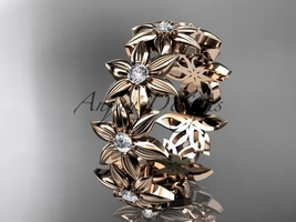 14kt rose gold diamond band and vine engagement band, wedding band ADLR339B - $1,250.00