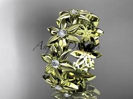 14kt yellow gold diamond band and vine engagement band, wedding band ADLR339B - $1,250.00