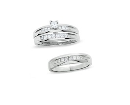 Princess Cut Diamond Engagement Wedding Ring Trio set 925 Silver 14k White Gold - $130.71