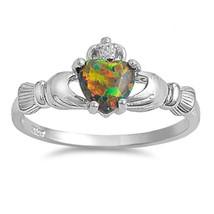 Sterling Silver Claddagh ring CZ Heart Crown Rainbow Black Opal size 4-1... - $11.19