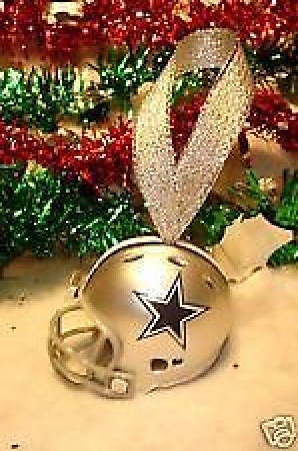 2 DALLAS COWBOYS CHRISTMAS BELL NFL FOOTBALL HELMET ORNAMENT