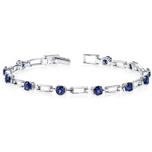 Women's Sterling Silver Modern Blue Sapphire Bracelet - £96.76 GBP