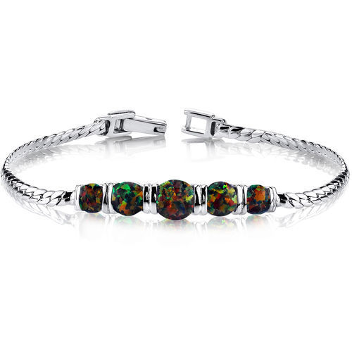 Primary image for Women's Sterling Silver 5 Stone Black Opal Bracelet