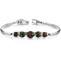 Women's Sterling Silver 5 Stone Black Opal Bracelet - $119.99