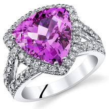 Women's Sterling Silver Trillion Pink Sapphire Halo Cocktail  Ring - $99.99