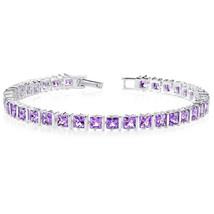 Women's Sterling Silver Princess Cut Genuine Amethyst Tennis Bracelet - £200.98 GBP