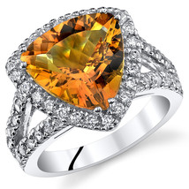 Women's Sterling Silver Trillion Genuine Citrine Cocktail Ring w/ Halo D... - $159.99