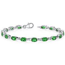 Women's Sterling Silver Lab Created Emerald Tennis Bracelet - £148.87 GBP