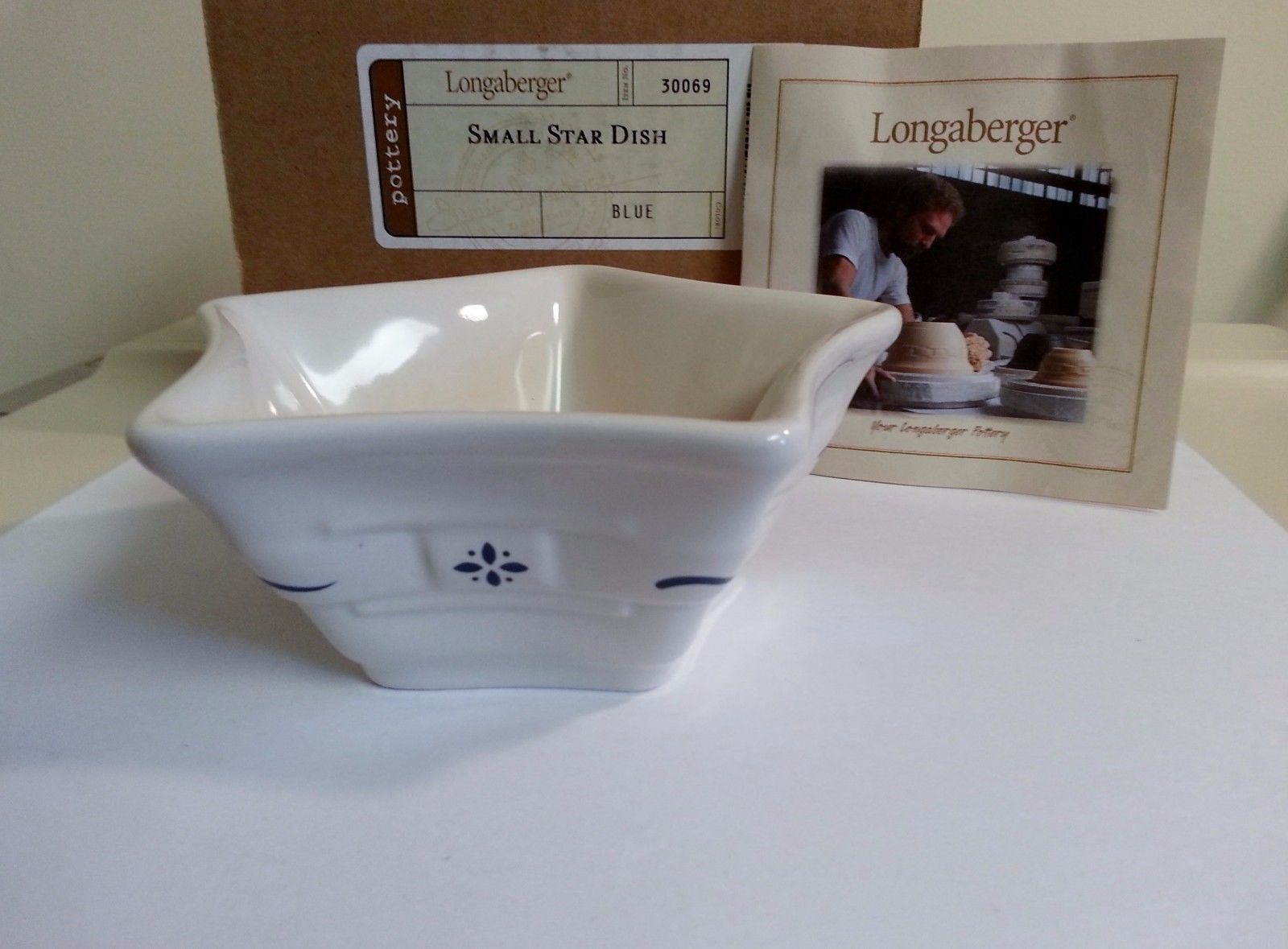 Longaberger Mini Star Dish Small Classic Blue Pottery New In Box USA Made