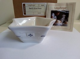 Longaberger Mini Star Dish Small Classic Blue Pottery New In Box USA Made - $14.95