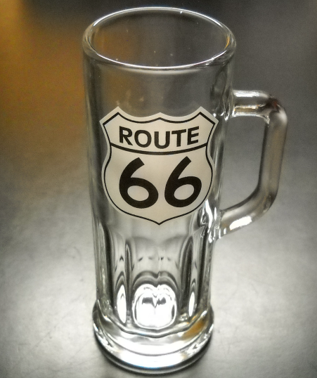 Primary image for Route 66 Shot Glass Tall Style with Handle Clear Glass Black White Road Sign