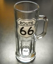 Route 66 Shot Glass Tall Style with Handle Clear Glass Black White Road Sign - $9.99