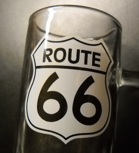 Route 66 Shot Glass Tall Style with Handle Clear Glass Black White Road Sign