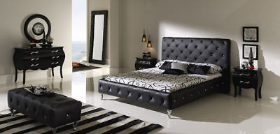621 NELLY Modern Bedroom Set Black King Contemporary Button Tufted Spain