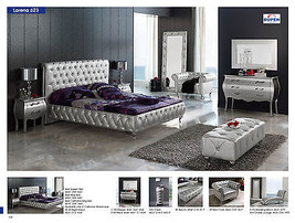 621 Lorena Bedroom Set Queen  Modern Contemporary Button Tufted Made in Spain