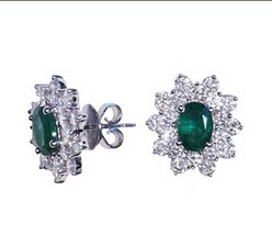 Emerld  and Diamond Earrings in 14kt Solid White Gold - $2,499.00