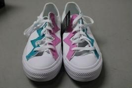 NIB NEW Women sz 8.5 Converse Shoe Sneaker White Teal Peony Box CTAS OX image 2