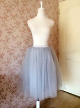 GRAY Elastic Full Tulle Skirt Gray Wedding Bridesmaid Midi Skirts NWT