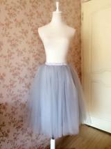 Grey Ballerina Tulle Skirt Knee Length Tulle Midi Skirt Custom Plus Size image 1