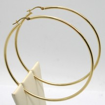 18K YELLOW GOLD ROUND CIRCLE EARRINGS DIAMETER 67 MM, WIDTH 2 MM, MADE IN ITALY image 2