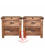 Two Rustic Reclaimed Wood Nightstands Western Cabin Lodge Solid Wood Bed... - $590.03