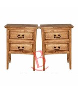 Two Rustic Two Drawer Nightstands Western Cabin Lodge Solid Wood Bedroom... - $435.60