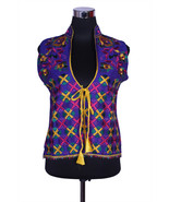 Free Shipping in US - Hand Embroidered Silk Phulkari Vest Free-size Jack... - $69.99