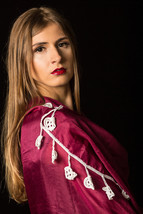 Pure Soft Silk Scarf with White Dangling Hearts Crochet Border - $34.99
